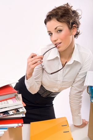 Businesswoman holding glasses Stock Photo - 5970124