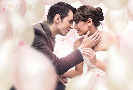 passionate embrace: Romantic wedding picture