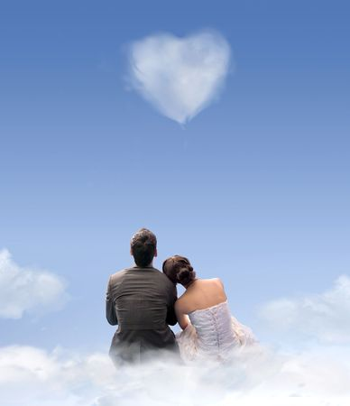 shaped: Creative style photo of a wedding couple