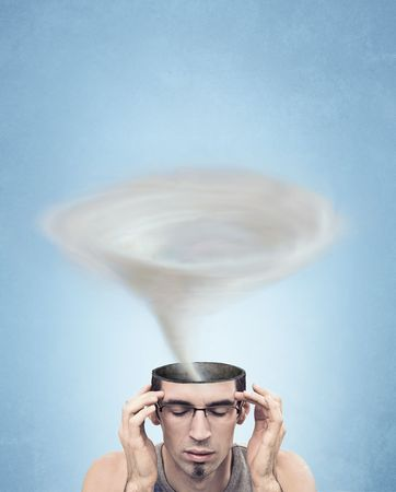 moneyless: Conceptual picture - tornado head man Stock Photo