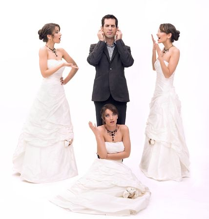 3 brides and 1 groom photo