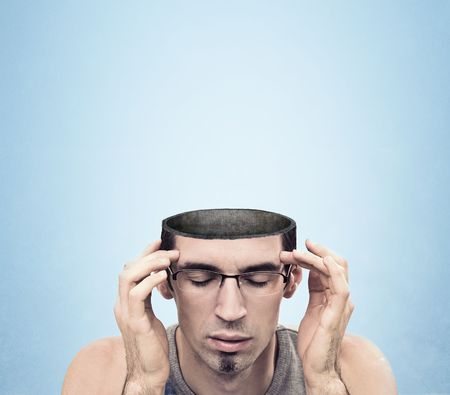 consciousness: Conceptual image of a open minded man , lots of copyspace Stock Photo