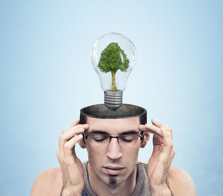 Conceptual image of a open minded man , lots of copyspace photo