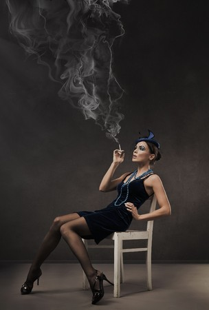 deseo sexual: Moda estilo retro retrato - 30s dama
