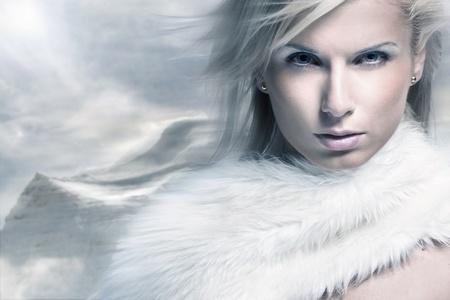 Fine art portrait of a beautiful lady in fur