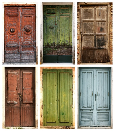 keyholes: Photo collage of 6 beautiful ancient doors  Stock Photo