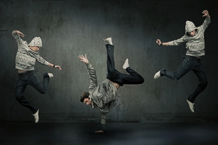 breakdancer: Three hip hop dancers Stock Photo