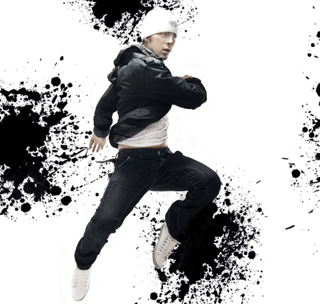 performers: Hip Hop dancer jumping, over abstract splash background