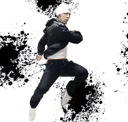 performers: Hip Hop dancer jumping, over abstract splash background