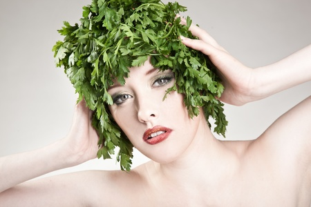 Portrait of parsley haired woman photo