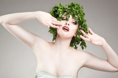Portrait of parsley haired woman Stock Photo - 8536022