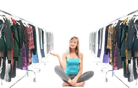 Calm blonde beauty in a wardrobe  photo