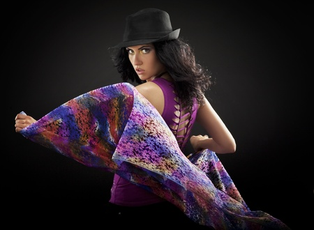 Dancing girl wearing a hat Stock Photo - 8560293