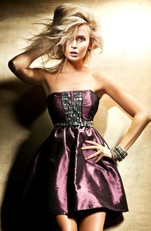 Fashion style of beautiful blond lady photo