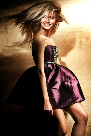 Fashion style of beautiful blond lady photo