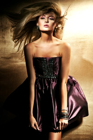 Fashion style of beautiful blond lady Stock Photo - 8738840