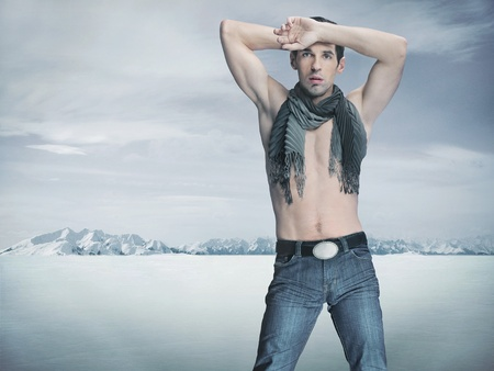 armpits: Winter style fashion shot of an attractive muscular guy Stock Photo