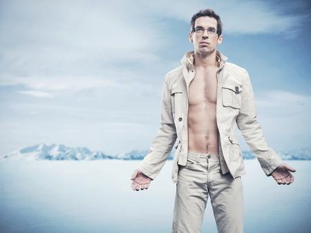 Winter stijl mode foto van een knappe man
