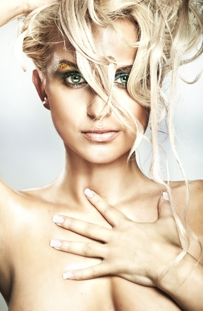Portrait of stunning blonde beauty photo