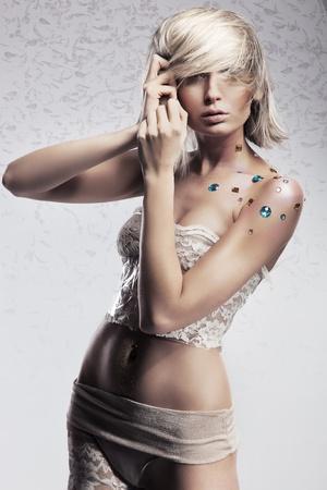 Glamour style photo of beautiful blond woman photo