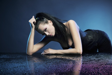 Glamour woman over blue background Stock Photo - 8877900