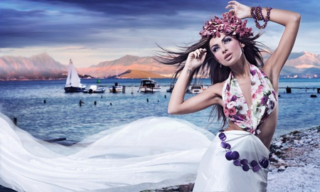 Romantic style photo of a beautiful brunette photo
