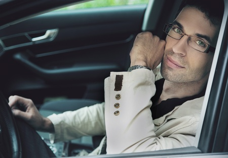males only: man in car Stock Photo