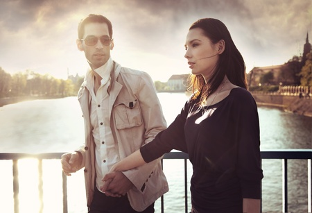 Attractive young couple wearing sunglasses Stock Photo - 8941961