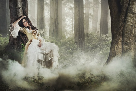 Fine art photo of a gorgeous lady in a mysterious foggy forest photo