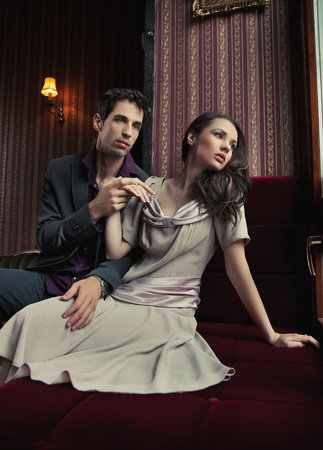 sexual intimacy: Fashion style photo of an attractive pair posing