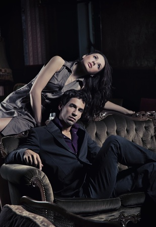 emotional couple: Fashion style photo of an attractive pair posing