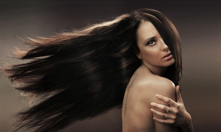 Portrait of a long haired brunette photo
