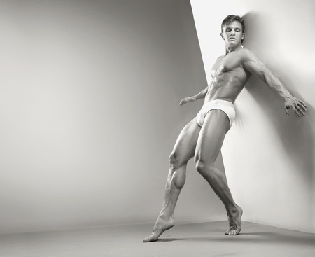 young underwear: Handsome muscular guy in the studio