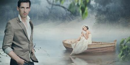 romantic background: Fashionable couple posing over beautiful romantic landscape Stock Photo