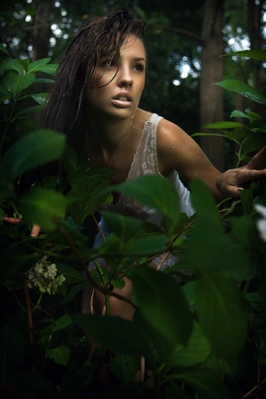 Delicate brunette posing in a forest Stock Photo - 9067638