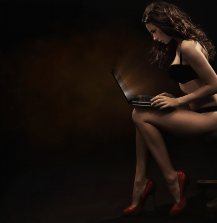 Sensual woman with laptop photo