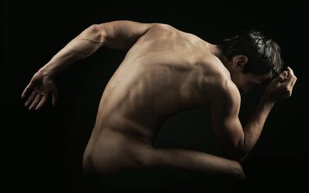 naked abs:  muscular man posing