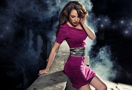 Beauty brunette in night scenery photo