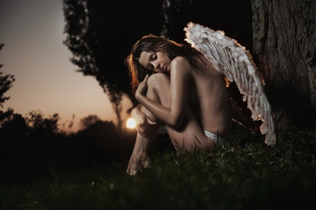 Female angel posing over an autumn sunset Stock Photo - 9077432