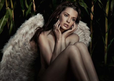 nude female figure: Romantic young beauty as an angel