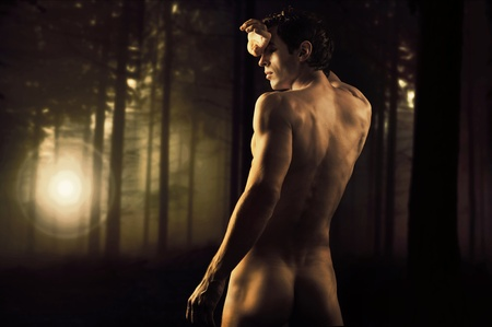 Fine art photo of a young muscular man in a forest Stock Photo - 9070903