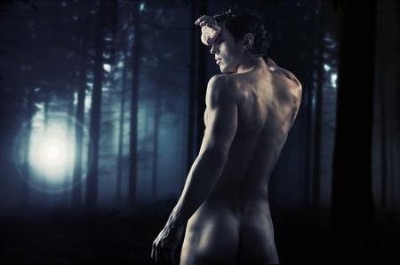desnudo masculino: Fotos de obras de arte de un joven muscular en un bosque Foto de archivo