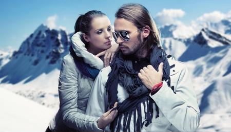 Handsome couple having fun on winter holidays Stock Photo - 9077842