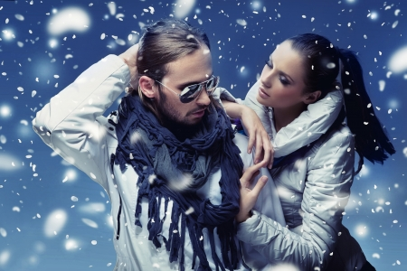 Young handsome couple in mountain Stock Photo - 9078437