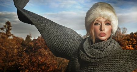 Autumn lady wearing big scarf photo