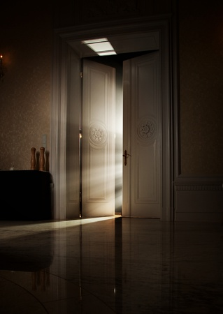 Mysterious rays of light behind door photo