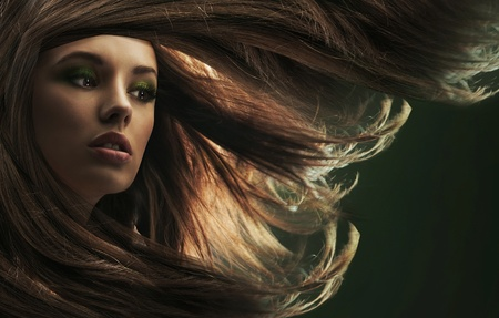 Beautiful lady with long brown hair photo
