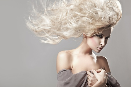 hair: Portrait of a woman with long blonde hair Stock Photo
