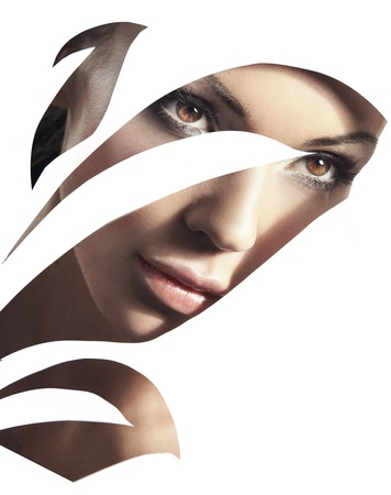 Retrato de estilo de belleza de una mujer joven
