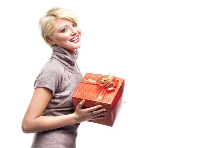 Smiling woman with gift photo
